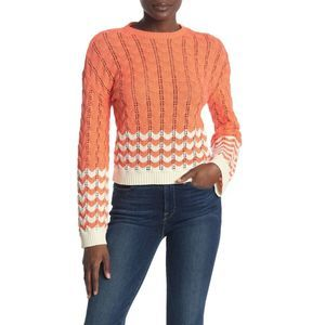 Abound S Coral Striped Pointelle Knit Sweater NWT Small Women's Long Sleeve